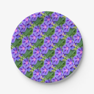 A Group of Beautiful Morning Glories 7 Inch Paper Plate