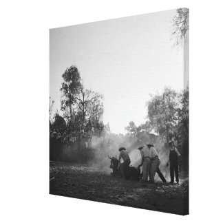 A group of Mexican charros bullfighters twist Canvas Print