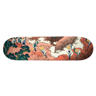 A group of mountaineers skateboard decks