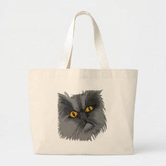 A Grumpy Cat vector Large Tote Bag