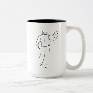 A Guitar Player Walking Away Two-Tone Coffee Mug