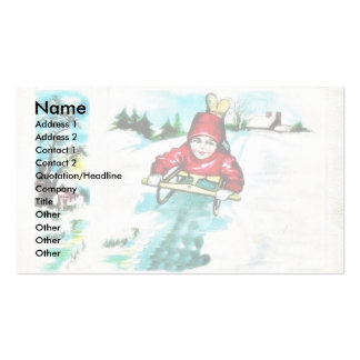 A guy snow slading pack of standard business cards
