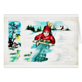 A guy snow slading greeting card