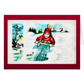 A guy snow slading greeting card