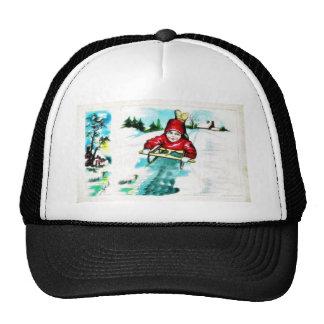 A guy snow slading trucker hat