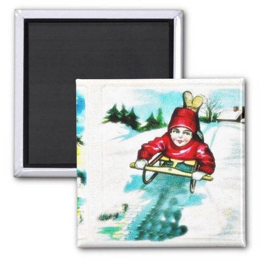 A guy snow slading magnet