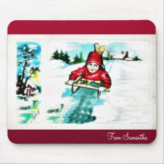 A guy snow slading mouse pad