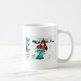 A guy snow slading coffee mug