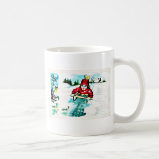 A guy snow slading classic white coffee mug