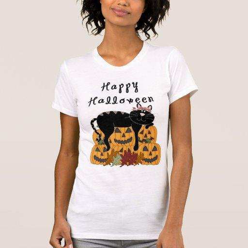 A Halloween Black Cat and Pumpkins Tshirts