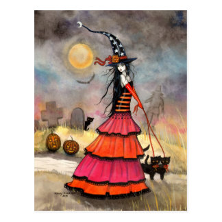 A Halloween Stroll Witch and Black Cats Art Postcard