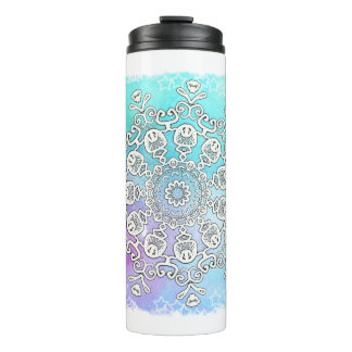 *~* A Hand Drawn & Watercolor Mandala Thermal Tumbler