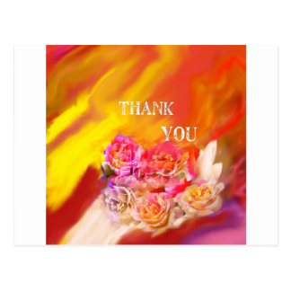 A hand full of thanks tends toward you. postcard