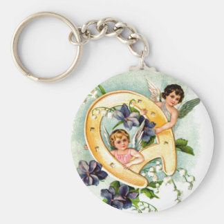 A Happy Birthday Cherub Greeting Basic Round Button Keychain