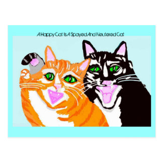 A Happy Cat Is A Spayed And Neutered Cat Postcard