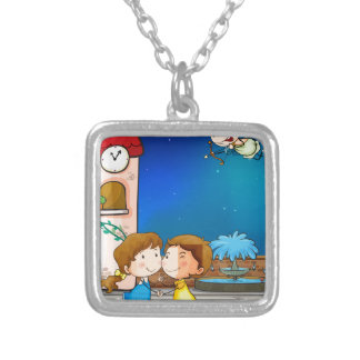 A happy couple silver plated necklace