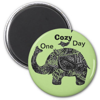 A Happy Cozy Day of an Elephant and his Friends Magnet