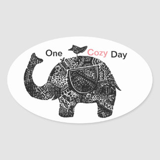 A Happy Cozy Day of an Elephant and his Friends Oval Sticker