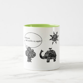 A Happy Cozy Day of an Elephant and his Friends Two-Tone Coffee Mug