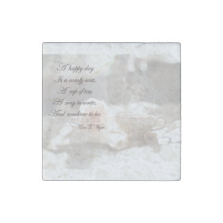 """A Happy Day Writing Marble Stone Magnet 2"""" by 2"""" Stone Magnets"""