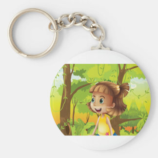 A happy girl near the trees basic round button keychain