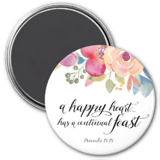 """A Happy Heart 3"""" Round Magnet"""