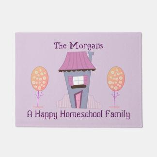 A Happy Homeschool Family Purple House Welcome Doormat