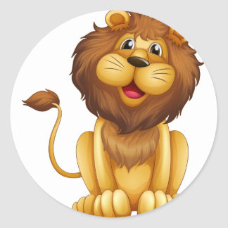 A happy lion in a sitting position classic round sticker