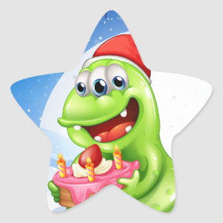 A happy monster with a cake star sticker