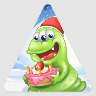 A happy monster with a cake triangle sticker