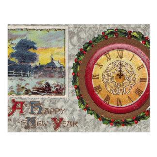 A Happy New Year Clock Postcard