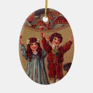 A Happy New Year Victorian Children Ceramic Ornament