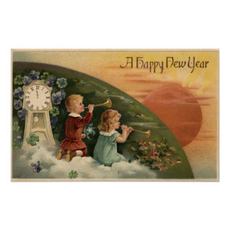 A Happy New YearKids Blowing Trumpets Poster