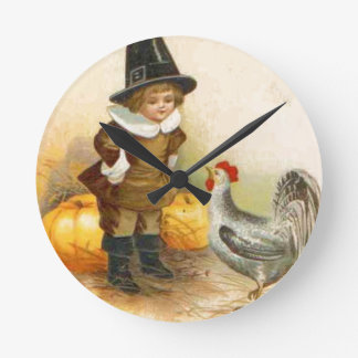 A Happy Thanksgiving Pilgrim and Plymouth Rock Round Clock