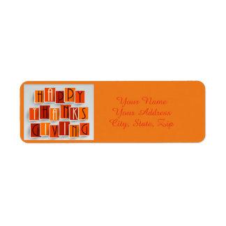 A Happy Thanksgiving Return Address Label