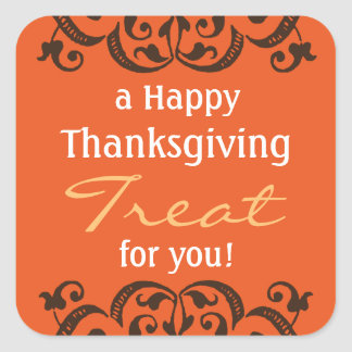 a Happy Thanksgiving Treat v2 Square Sticker