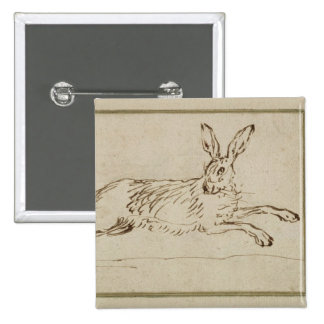 A Hare Running, With Ears Pricked (pen & ink on pa 2 Inch Square Button