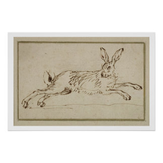 A Hare Running, With Ears Pricked (pen & ink on pa Poster