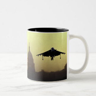 A Harrier jet landing on the Mall at dawn with Two-Tone Coffee Mug