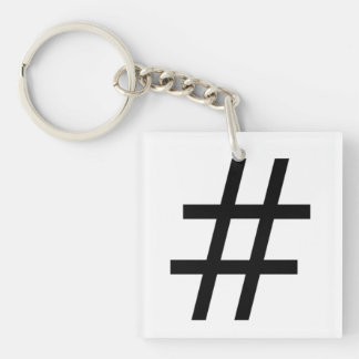 A Hashtag Double-Sided Square Acrylic Keychain