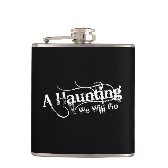 A Haunting We Will Go LLC White Logo Flask