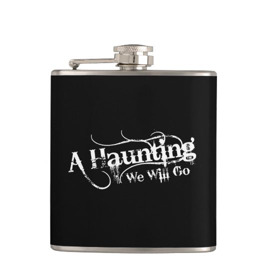 A Haunting We Will Go LLC White Logo Hip Flask