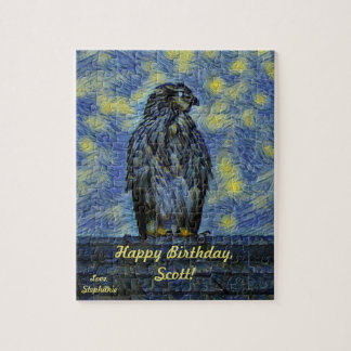 A Hawk Bird on a Roof on a Starry Night Jigsaw Puzzle