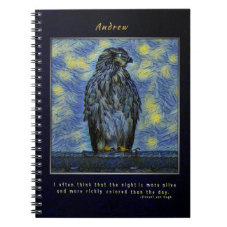 A Hawk Bird on a Roof on a Starry Night Notebooks