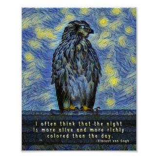 A Hawk Bird on a Roof on a Starry Night Photo Print