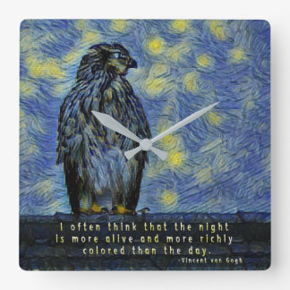 A Hawk Bird on a Roof on a Starry Night Square Wall Clock