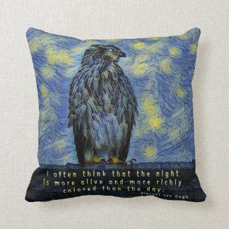 A Hawk Bird on a Roof on a Starry Night Throw Pillow