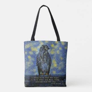 A Hawk Bird on a Roof on a Starry Night Tote Bag