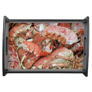 A heap of cooked Lobster and Crab shells Service Tray