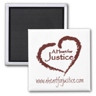 A Heart for Justice magnet (white)